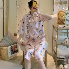 Silk Nightdress Pink Cartoon  (3)