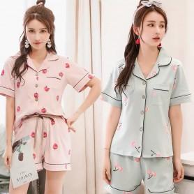 329-Green Cotton Cherry Sleep Wear Pajamas