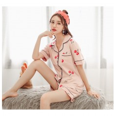329-pink Cotton Cherry Sleep Wear Pajamas